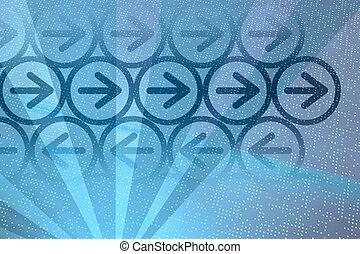 bleu, flèches, numérique