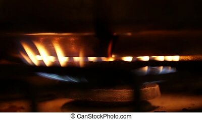 bleu, flammes, poêle, essence, sombre, orange