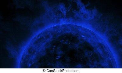 bleu, flammes, soleil, surface, chaleur, solaire, vagues, marine