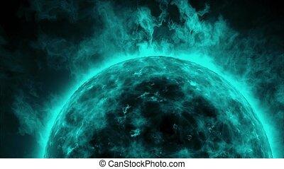 bleu, flammes, soleil, surface, chaleur, solaire, vagues