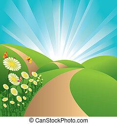 bleu fleurit, ciel, papillons, champs, paysage, vert, printemps