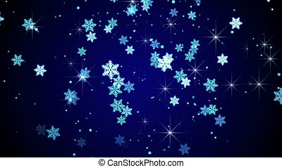 bleu, flocons neige, animation, tomber, boucle, lueur