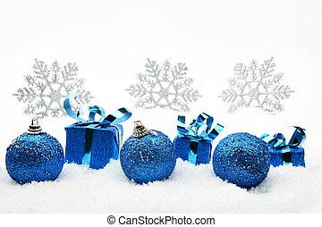bleu, flocons neige, neige, dons, noël babioles