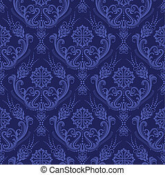 bleu, floral, papier peint, luxe, damassé