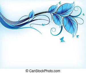 bleu, floral, vecteur, arrière-plan.