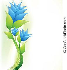 bleu, flowers., vecteur, élégance, illustration