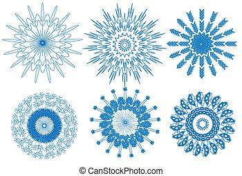 bleu, fond blanc, flocon de neige