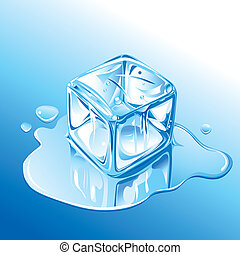 bleu, fondre, cube, glace