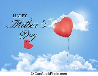 bleu, forme coeur, balloon, ciel, clouds., arrière-plan., vector., mère, vacances, jour