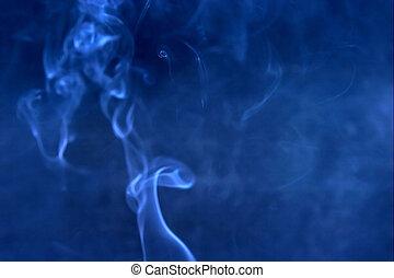 bleu, fumée, barbouillage