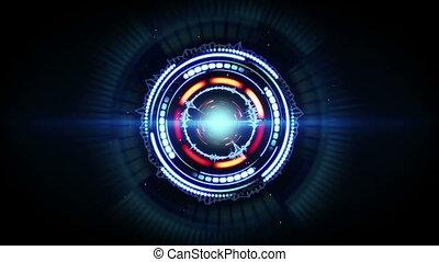 bleu, futuriste, forme, animation, rouges, circulaire, boucle, lueur