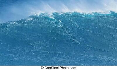 bleu, géant, vague océan
