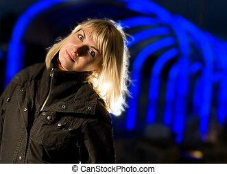 bleu, girl, résumé, fond, blonds