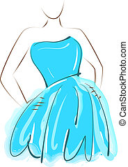 bleu, girl, robe, esquisser