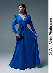 bleu, girl, robe soir