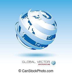 bleu, global, vecteur, fond