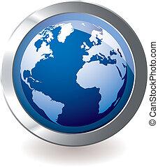 bleu, globe terre, icône
