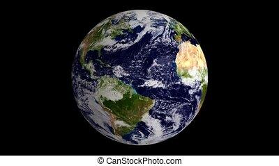 bleu, globe terre, marbre, boucle