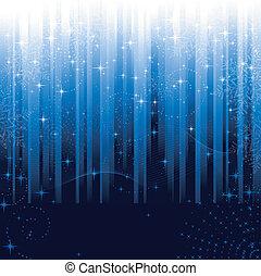 bleu, grand, flocons neige, fête, modèle, themes., ou, arrière-plan., étoiles, rayé, noël, hiver
