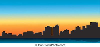 bleu, grande ville, contour
