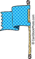 bleu, griffonnage, drapeau, dessin animé