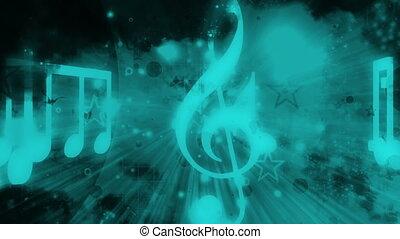 bleu, grunge, raies, lumière, résumé, sombre, noir, étoiles, musique note, boucle