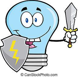 bleu, guarder, ampoule, lumière