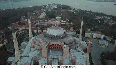 bleu, hagia, aérien, métrage, mosquée, istanbul., sultanahmet, carrée, sophia