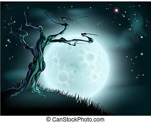 bleu, halloween, arbre, fond, lune
