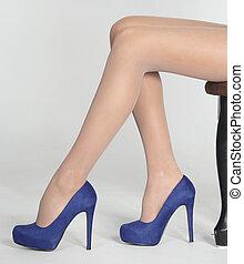 bleu, hauts talons, femme