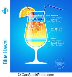 bleu, hawaï, cocktail