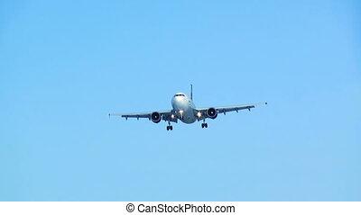 bleu, hd., avion, landing., sky.