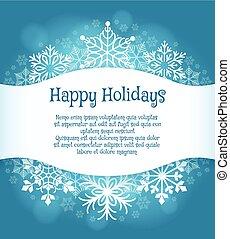 bleu, heureux, flocons neige, fond, fetes