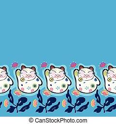 bleu, heureux, frontière, florals., chat