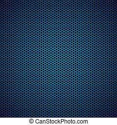 bleu, hexagone, métal, fond