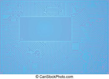 bleu, high-tech, résumé, circuit, vecteur, planche, fond