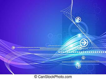 bleu, high-tech, résumé, flèches, vecteur, fond, vagues