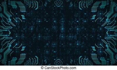 bleu, high-tech, résumé, seamless, arrière-plan., engendré, panneau ordinateur, circuit, animation., boucle