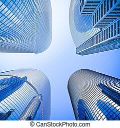 bleu, highrise, angle, verre, gratte-ciel, coup, intersection, bas