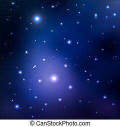 bleu, hole., fond, espace, galaxies, résumé, nébuleuse, stars., vecteur, noir, planètes, lointain, glow., image