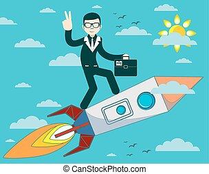 bleu, homme affaires, voler, ciel, fusée