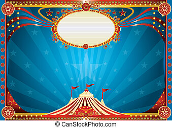bleu, horizontal, cirque, fond
