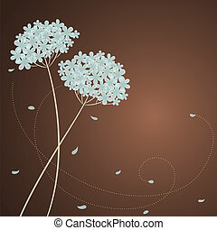 bleu, hortensia, carte voeux