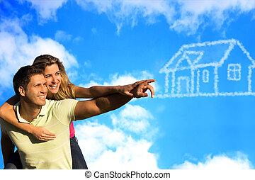 bleu, house., ciel, coupleunder, rêver, heureux