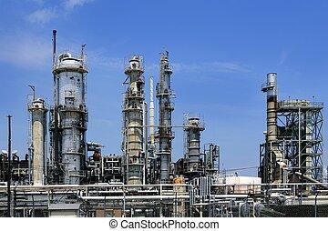 bleu, huile, ciel, industrie, métal, horizon, installation