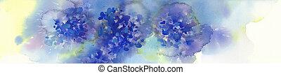 bleu, hydrangeas, bouquet, illustration, fleurs, aquarelle