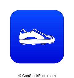 bleu, icône, chaussure golf, numérique