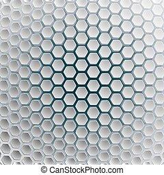bleu, illustration., hexagones, arrière-plan., blanc, futuriste
