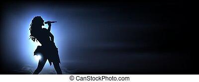 bleu, illustration., musique, projecteurs, arrière-plan., chant, lights., sous, vecteur, silhouette, vivant, femme, concept, clair, chanteur, incandescent, idéal, original