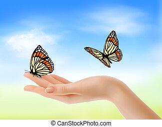 bleu, illustration., sky., contre, main, papillons, vecteur, tenue